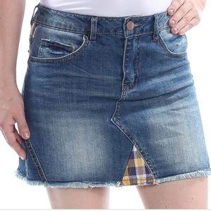 Dollhouse Plaid Contrast Frayed Hem Denim Skirt